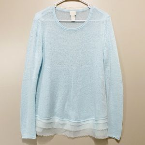 Chico's Light Blue Sheer Lace Sweater